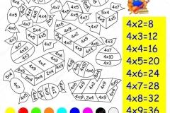 Математические-раскраски-на-таблица-умножение-на-4