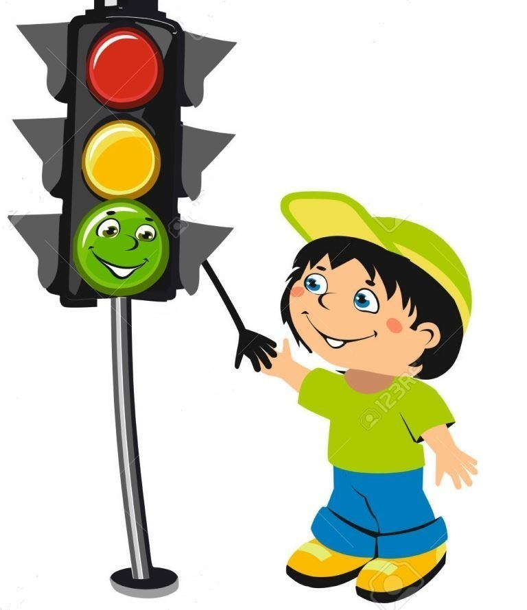 Cartoon boy and traffic light